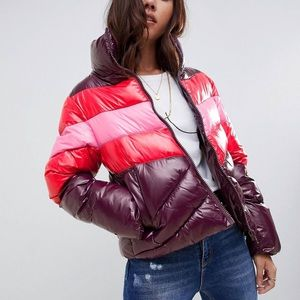 ASOS Design high shine paneled puffer